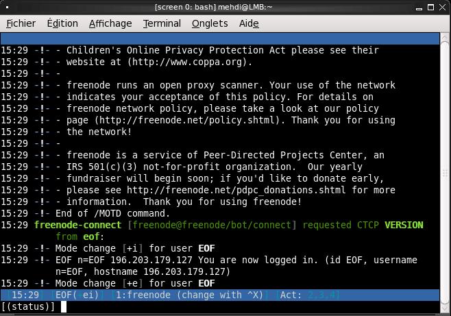 Irssi - client IRC en mode console — Wiki Fedora-Fr